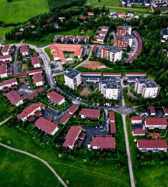 Aerial View Of A Small Town Or Village In Europe. Finland Countryside In Summer.